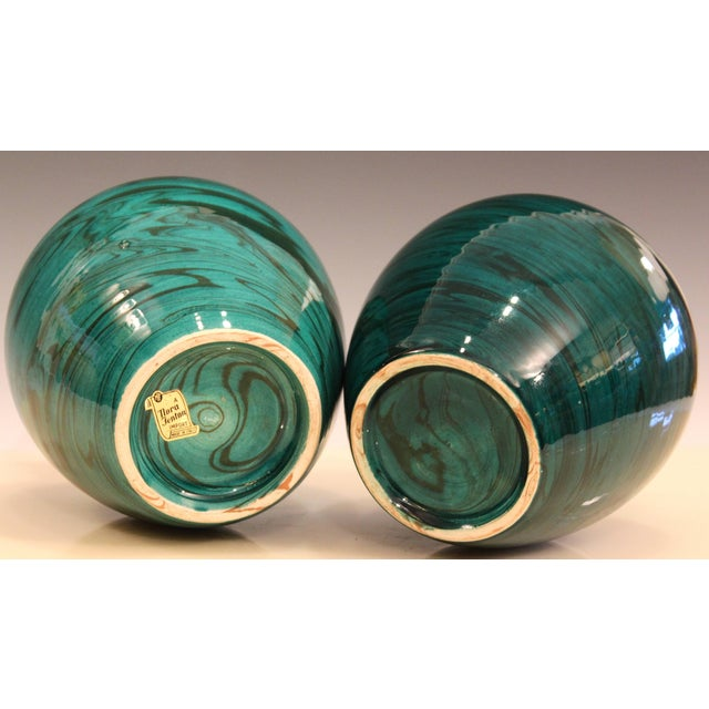 Ceramic Bitossi MCM Raymor Vintage Italian Pottery Marbled Green Marbleized Vases, Pair For Sale - Image 7 of 9