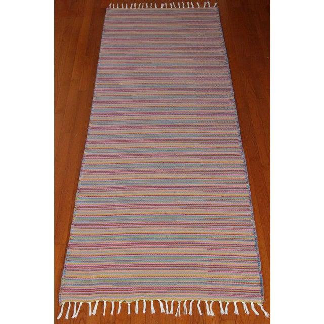 Flat Weave Wool Striped Pink Kilim Rug - 2'8'' x 7'6'' - Image 3 of 9