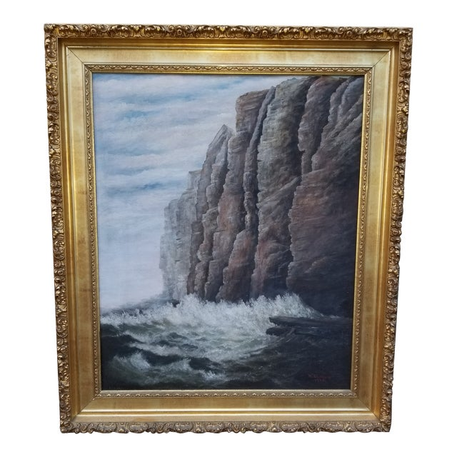 Antique 1903 Seascape Oil Painting Cliff & Waves For Sale