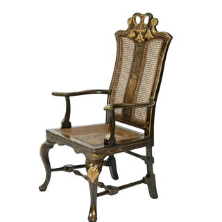 Black & Gold Chinese Chippendale Chinoiserie Decorated Arm Chair For Sale