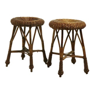 Pair Wicker Stools For Sale