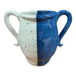 Blue & White Studio Pottery Double Handled Vase For Sale