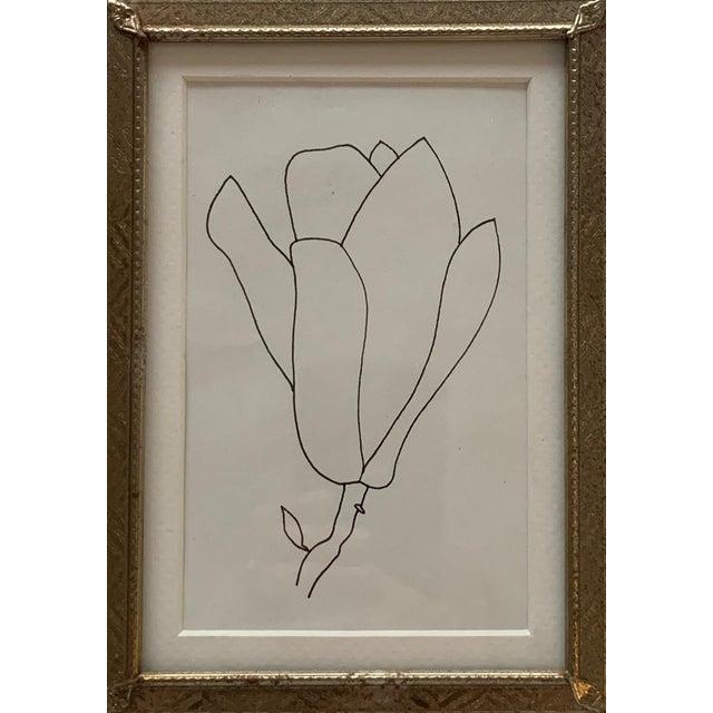 Original Floral Pen Drawing in Vintage Frame For Sale - Image 4 of 4