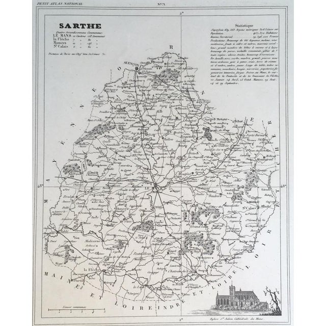 Attention Francophiles! Up for sale is this lovely antique map of Sarthe with a vignette of a cathedral, in very good...