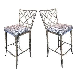 Phyllis Morris Silver Bamboo Tall Barstools - a Pair