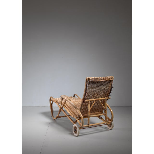 Adjustable Bamboo and Rattan Chaise With Wheels, Germany, 1920s-1930s For Sale - Image 6 of 7