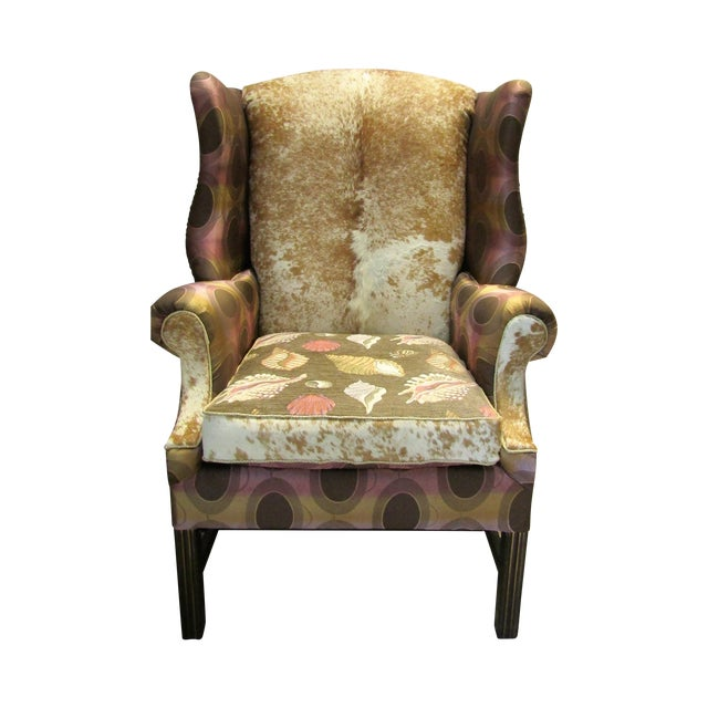 Vintage Chippendale Wingback Chair W/ Cowhide - Image 1 of 8