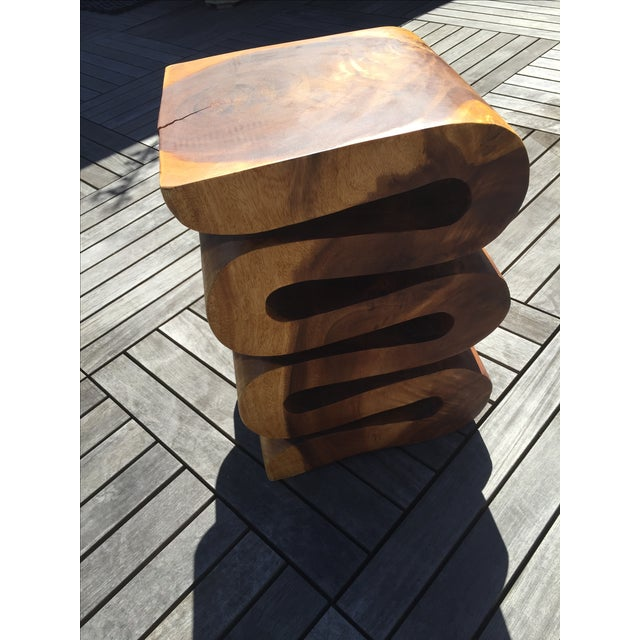 Carved Wood Side Table/Stool - Image 4 of 7