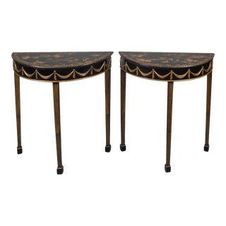 Pair Regency Chinoiserie Demi-Lune Tables For Sale