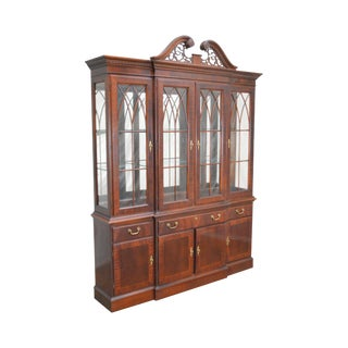 Ethan Allen 18th Century Collection Mahogany Chippendale Style Breakfront China Cabinet