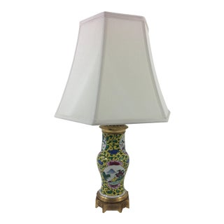 Imperial Yellow Chinese Export Lamp with Mounted Bronze Base For Sale