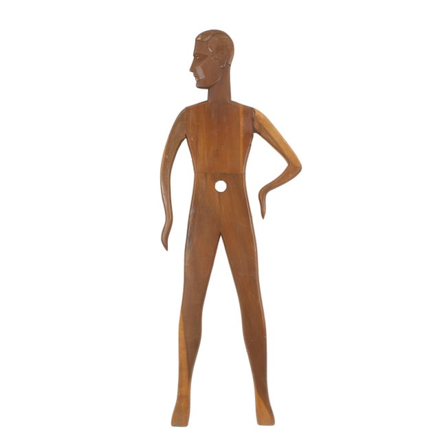 1920s Pair of American Art Deco Stained Pine Mannequin Panel Figure For Sale - Image 5 of 6
