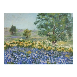 Small Bluebonnet Painting For Sale