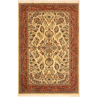 Adil Pak-Persian Alexia Ivory/Rust Wool Rug - 5'1 X 8'2 For Sale