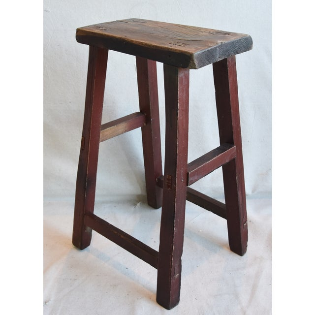 Rustic Primitive Country Wood Farmhouse Stool For Sale - Image 9 of 9