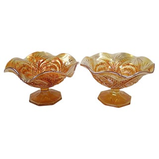 English Carnival Glass Dishes, a Pair For Sale