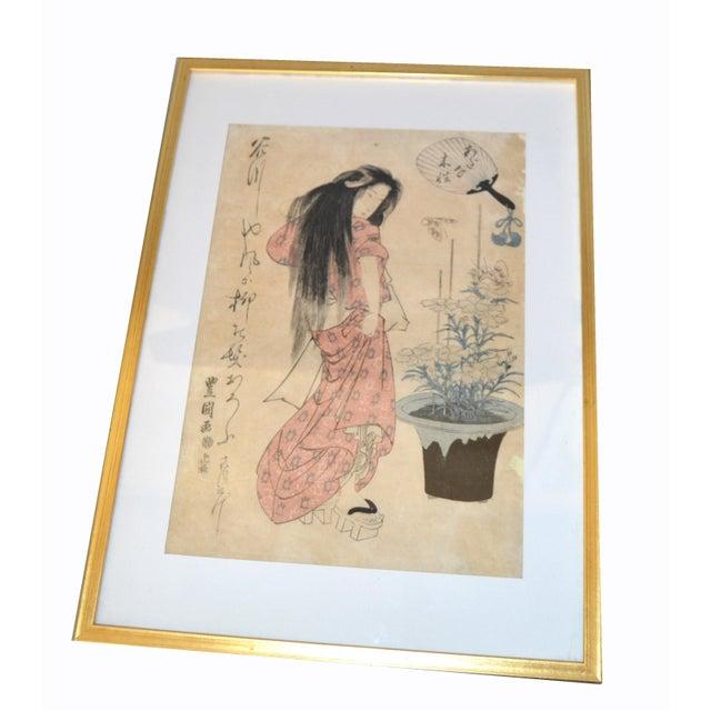 Original Utagawa Toyokuni II Geisha Japanese Woodblock Print on Parchment Paper in gilt Frame. Marked by Artist: Utagawa...