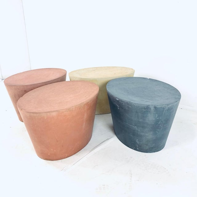 Original Maya Lin for Knoll Studio Concrete Stone Garden or Gallery Stools - Set of 4 Various Colors For Sale - Image 9 of 13