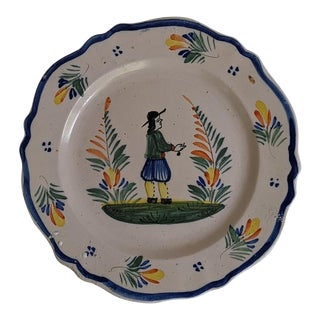 French Henriot Quimper Pottery Plate For Sale
