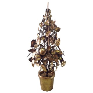 Large Brass Fruit Tree Lamp by Curtis Jere For Sale