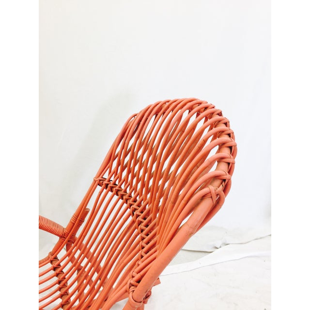 Vintage F. Albini Orange Rattan Rocking Chair - Image 4 of 6