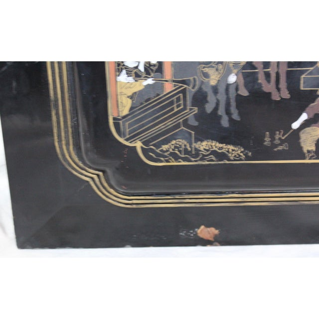 Large Vintage Chinese Black Lacquer Wall Panel - Image 5 of 9