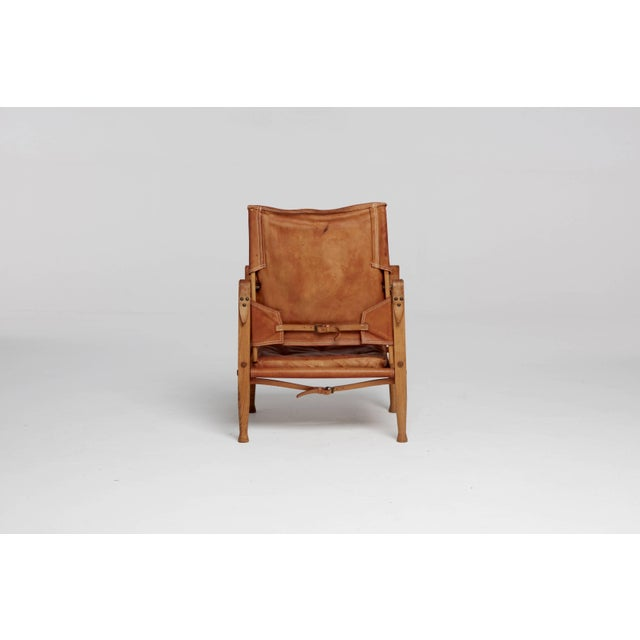 Mid 20th Century Kaare Klint Safari Chair in Patinated Tan Leather, Rud Rasmussen, Denmark, 1960s For Sale - Image 5 of 8