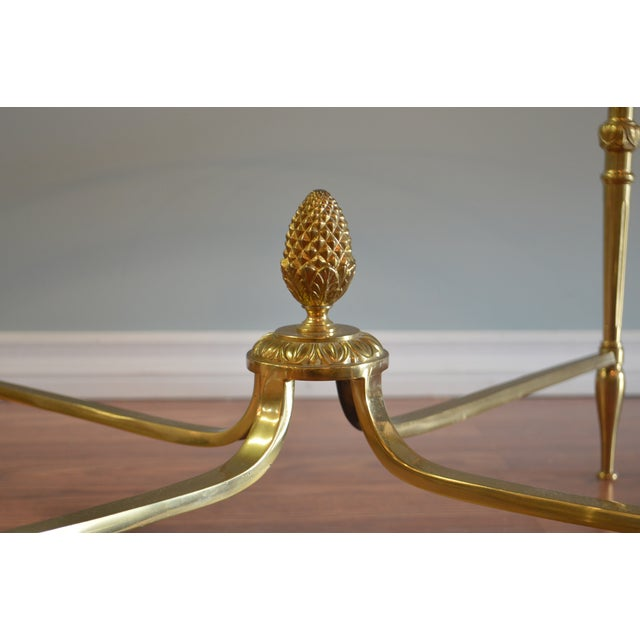 Round Coffee Table From France, Brass Frame With Pine Cone a Base, Glass Top. For Sale In Buffalo - Image 6 of 7