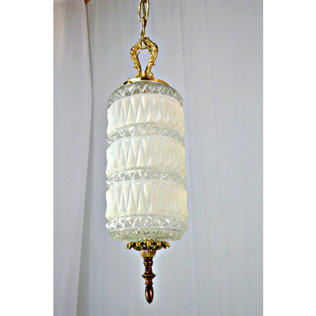 Art Deco Frosted and Clear Glass Pendant - Image 2 of 8