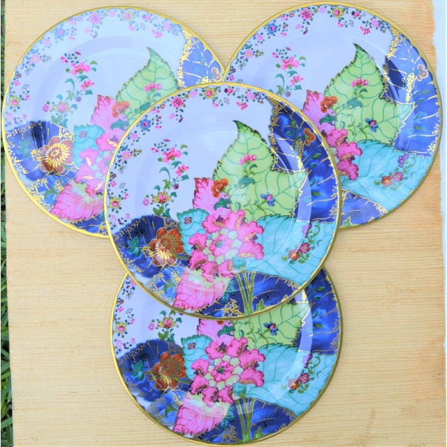 Chinoiserie Enamaled Tin Tobacco Leaf Plates - Set of 4 For Sale - Image 3 of 13