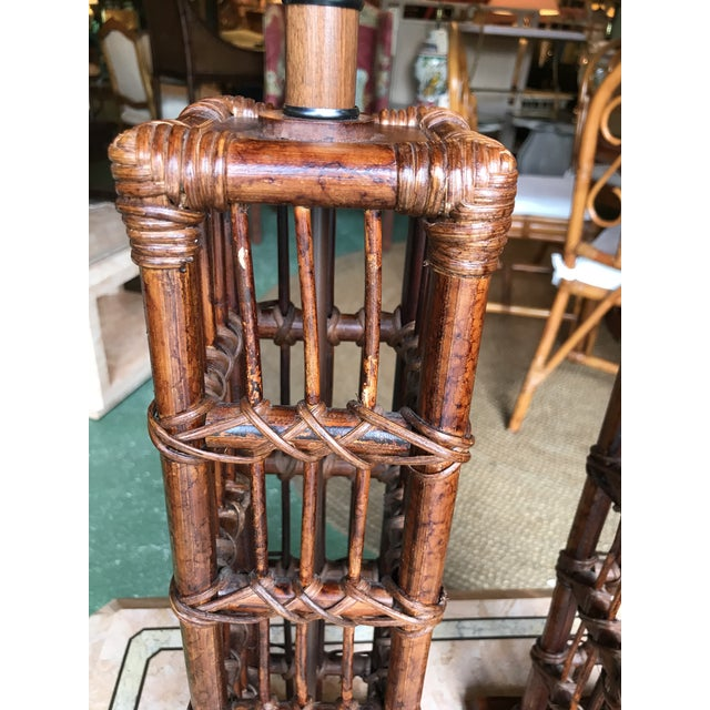 Wood Island Style Coastal Regency Rattan Lamps-A Pair For Sale - Image 7 of 9