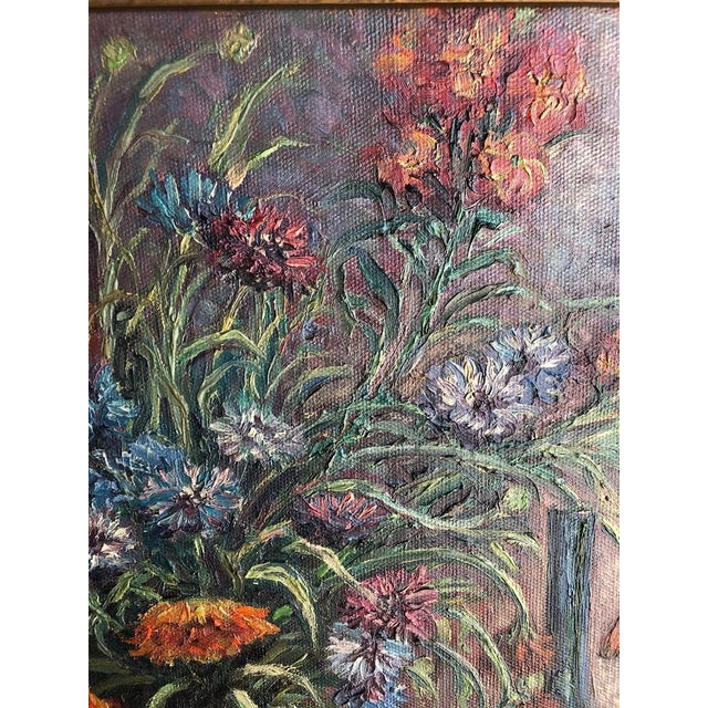 1920s Vintage Edyth Glover Ellsworth Still Life With Flowers and Blue Vase Painting For Sale In Seattle - Image 6 of 11