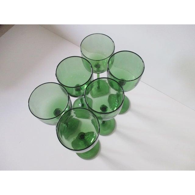 Set of Six (6) Vintage Emerald Green Wine Vases For Sale - Image 4 of 6