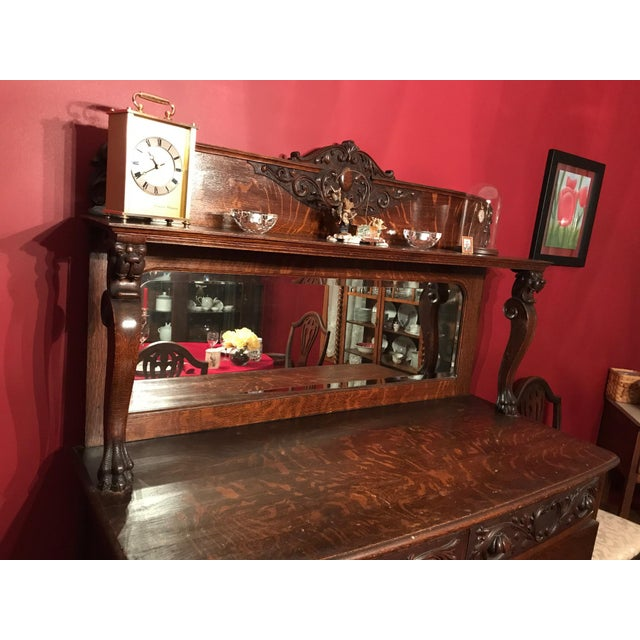 Antique Tiger Oak Buffet With Mirror - Image 6 of 11