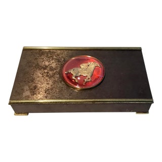 Antique Art Deco Cigarette Box With Red Racing Horse Medallion For Sale