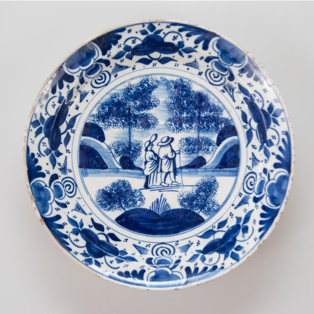 Antique 18th-Century Dutch Delft Plate With Figures For Sale In Houston - Image 6 of 6