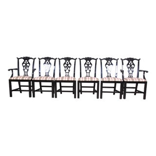 Century Furniture Black Lacquered Chippendale Style Dining Chairs, Set of Six For Sale