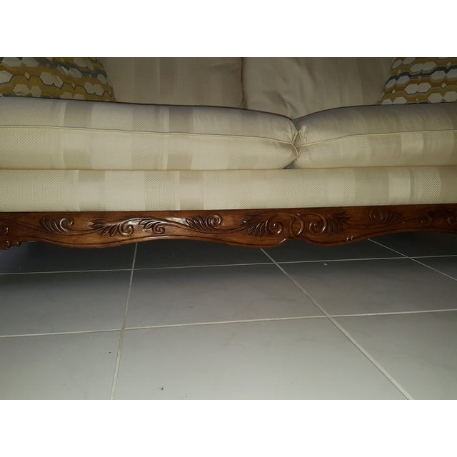 Classic Scroll Arm Ivory Sofa - Image 3 of 4