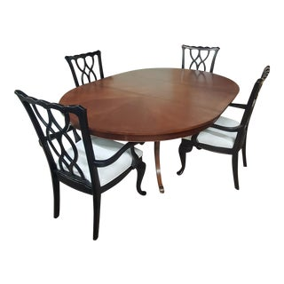 Thomasville Furniture Tate Street Black Cherry Round/Oval Dining Table and Chair Set For Sale