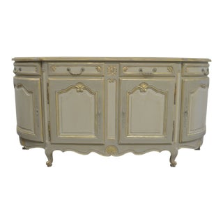 Louis XV Style Cabinet/Buffet From France Painted Over Solid Cherry Wood in Tones of Grey With Some Gilded Accents For Sale