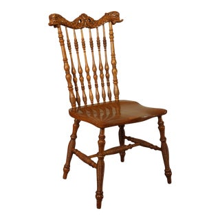 Antique Victorian Oak Turned Spindle Side Chair With Curved Dolphins For Sale