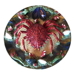 19th Century Alvaro Jose Crab Palissy Style Majolica Caldas Da Rainha Decorative Bowl For Sale