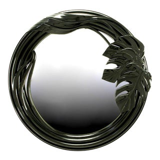 Black Lacquer Art Deco Revival Foliate Round Mirror