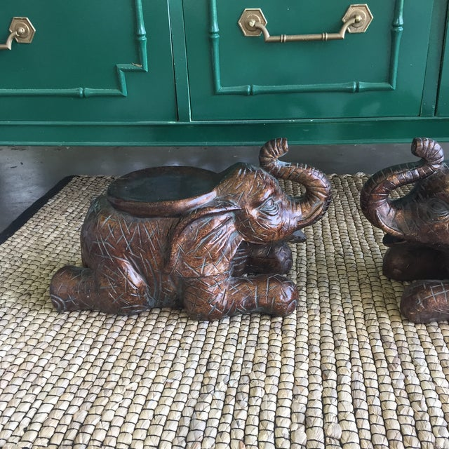 Large Elephant Trunks Up Pillar Candle Holders/Planter Stands - Set of 2 - Image 4 of 11