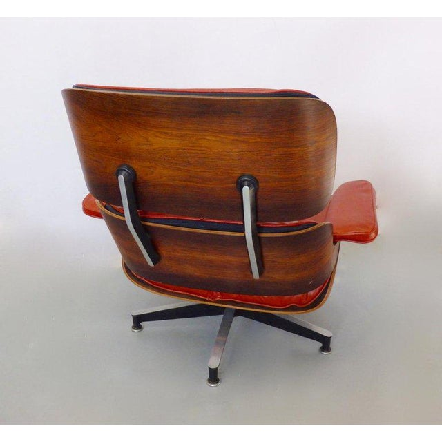 Animal Skin Eames for Herman Miller Rosewood With Red Leather 670 Lounge Chair and Ottoman For Sale - Image 7 of 11
