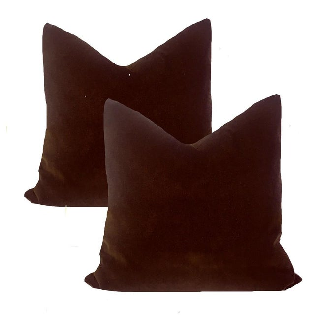 "Americana Contemporary Espresso Brown Velvet Pillows 22"" - a Pair For Sale - Image 3 of 3"