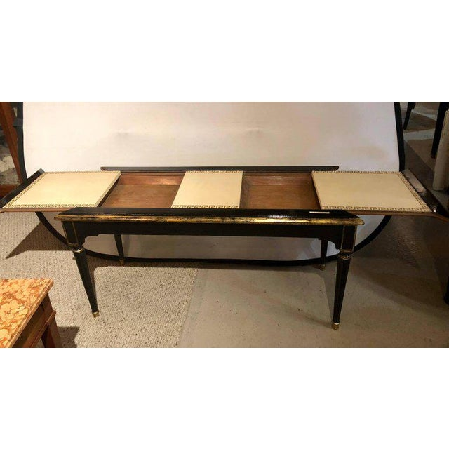 White Ebonized Jansen Style Coffee Table With a Greek Key Design and Leather Top For Sale - Image 8 of 13