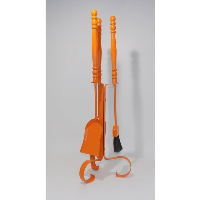 Orange Mid Century Modern Fireplace Tool Set For Sale - Image 4 of 7