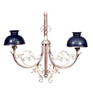 French Victorian Bronze Dore Scroll Design Billiard Light Fixture For Sale