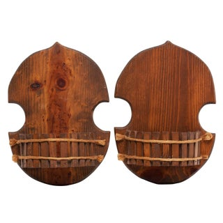 1960s Japanese Style Wood Brackets - a Pair For Sale